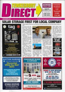 Puredrive Solar Storage Products Hits Front Cover Tewkesbury Direct